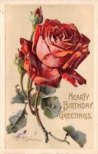 Catherine Klein~Full Red Rose in Bloom~Rosebuds~Emboss~International Art Pub Co