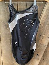 GK ELITE gymnastics Leotard Sparkle Foil Rhinestone Black Silver Adult Medium