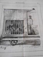 Caricature 1882  Député qui voyage wagon compartiment des chiens