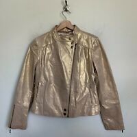 Live a Little Womens Moto Jacket Gold Leather Zip Front Pockets Lined Size M