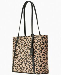 NWB Kate Spade Cara Leopard Tote Cheetah WKR00535 Leopardo Animal Gift Bag FS