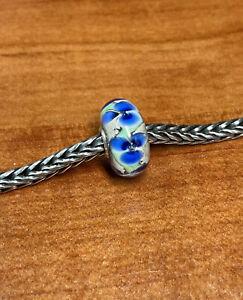 Authentic Trollbeads Unique Ooak Bead Blue Flower On Beige  Base HTF New