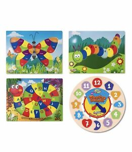 LOT OF 4 Wooden Puzzles Toddler Toy Baby Kids Educational Clock/Shapes/Colors 🖍
