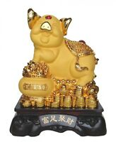 "15"" Big Golden Pig Statue w/Treasure Pot for Chinese Lunar Year of Pig"