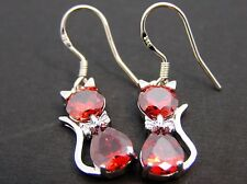 Red drop/dangle crystal cat earrings 925 sterling silver hook womens/ladies gift