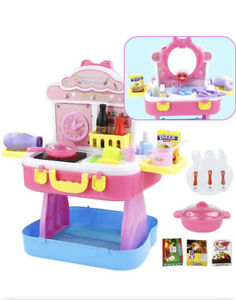 Nuheby 3 in 1 Children's Kitchen Dressing Table Children and Suitcas, 53 Pieces