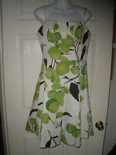#573 Misses Dress 10 Sheath Skater Alyn Paige NY white Sundress Lime Green APNY