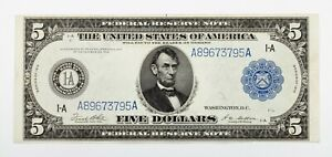 Series of 1914 $5 Federal Reserve Note in AU Condition, Boston FR# 847a RARE!