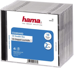 Hama 44747 Standard CD Double Jewel Case, Pack of 10, Transparent/Black