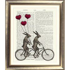 ART PRINT ON ORIGINAL ANTIQUE BOOK PAGE Tandem Bicycle Hare Heart Balloon Rabbit
