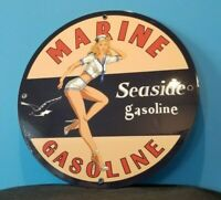VINTAGE SEASIDE MARINE GASOLINE PORCELAIN SERVICE STATION RACK PUMP PLATE SIGN