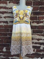 Free People sz XS Yellow Boho Beaded Crochet Knit Mini Sweater Dress Tunic