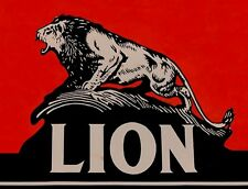 """TIN SIGN """"Lion New"""" Gas-Oil   Signs  Rustic Wall Decor"""