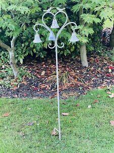 Triple Bell Cream Heart & Bird Plant Stake Decorative Garden Ornaments Ascalon