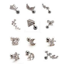2pcs 16G Silver Ear Stud Cartilage Helix Earring Auricle Lobe Piercing 12 Styles