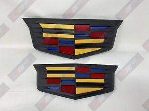OEM 15-20 Cadillac Escalade/ESV  Grille/Hatch Emblem Set Painted GM Flat Black