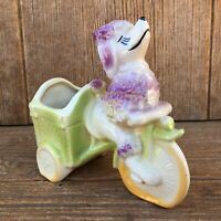 Purple Poodle Dog & Cart Rickshaw Vintage Shawnee 712 USA Pottery Planter Vase