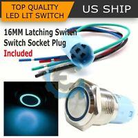 16mm 12V Car Blue Latching Led Angel Eye Light on-off Push Metal Button Switch