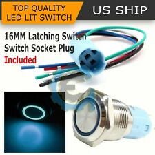 16mm 12V Car Blue Latching Led Angel Eye Light on-off Push Metal Button Switch