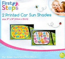 First Steps Chid Kid 2 Printed Numbers & Alphabets Car Sun Shades Suction Cup