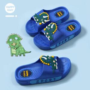 Boys Girls Flat Slippers Kids Sandals Dinosaur Summer Beach Slidders Shoes Size