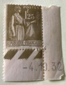 PAIX n°287 ** 1,25 fr OLIVE coin daté 4.10.32  léger pli visible au verso