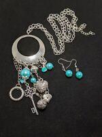 Silver Tone Blue Green Faux Pearl Key heart Charm Tassel Necklace Earring Set
