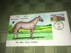 Kentucky 1792-1992 Blue Grass Julian Pugh Signed Stamped FDC Envelope 76/116