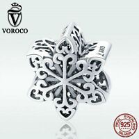 Voroco S925 Sterling Silver Pendant Bead Snowflake For Bracelet Necklace Jewelry