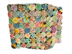 Vintage 40s large handmade handsewn Yo Yo quilt unfinished quilt sample remnant