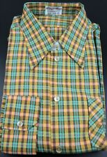 "Vintage Men's 1970s L/s Shirt Check Big Collar Deadstock Size L 16"" 186 P"