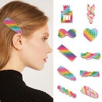 Rainbow Color Pearl Hair Clips Girls Cute Metal Hairpins Hair Accessories Gifts