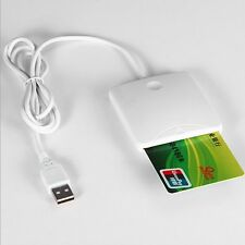 White ABS USB Contact Smart Chip Card IC Cards Reader Writer With SIM Slot F#