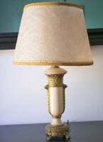 Vintage Art Deco Pink Painted Cast Metal Table Lamp w/ Fiberglass Shade, Footed