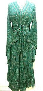 Boho hippie 100% SILK Beach Kimono Cover Up Wrap Long Turquoise Blue One size