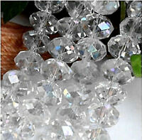 4X6mm glittering white crystal beads 95pcs