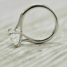 Cut Diamond Engagement Wedding Ring 14K White Gold 3.82Ct White Oval