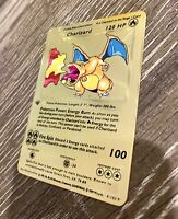 Charizard Pokemon Metal Gold Card Shadowless 1st Edition Base Set 4/102