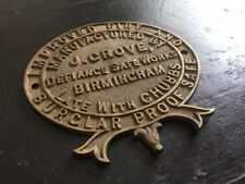 "⭐ ancienne vintage antique ""J. Grove-Chubbs"" Genuine Brass Safe plaque ⭐"