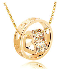 Hot white Rhinestone Goldplated Love Double Heart Charm Pendant Necklace S1