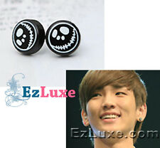 KPOP Korea idol sinnger Drama SHINee Skull Skeleton Jack Earrings round stud emo