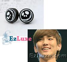 KPOP Korea idol sinnger Drama SHINee Skull Skeleton Jack Earrings round stud emo