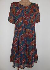 Laura Ashley Vintage Rust Floral Voile Chiffon Pleated Summer Dress, 12 UK