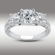 2.67 Ct Round Cut Three Stone Engagement Ring Lab Diamond 14K Solid White Gold