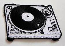 White Turntable and Record Player Embroidered Iron on Patch Free Postage