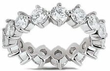 2.70 ct Round Diamond Ring 14k White Gold Eternity Band F VS Size 6 0.15 ct each