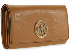 Michael Kors Fulton Carryall Wallet Pebble Leather Acorn Gold Hardware AUTHENTIC