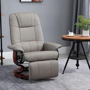 PU Leather Armchair Ergonomic Office Recliner Sofa Chair Plush Lounger Grey