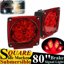 "Pair Submersible Square LED Under 80"" Brake Tail Light Side Marker Truck Trailer"