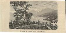 Stampa antica BELLAGIO il Lago di Lecco da Pescallo Como 1884 Old antique print